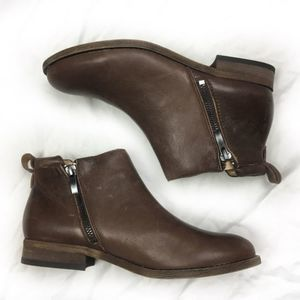 Franco Sarto Brown Leather Ankle Boots